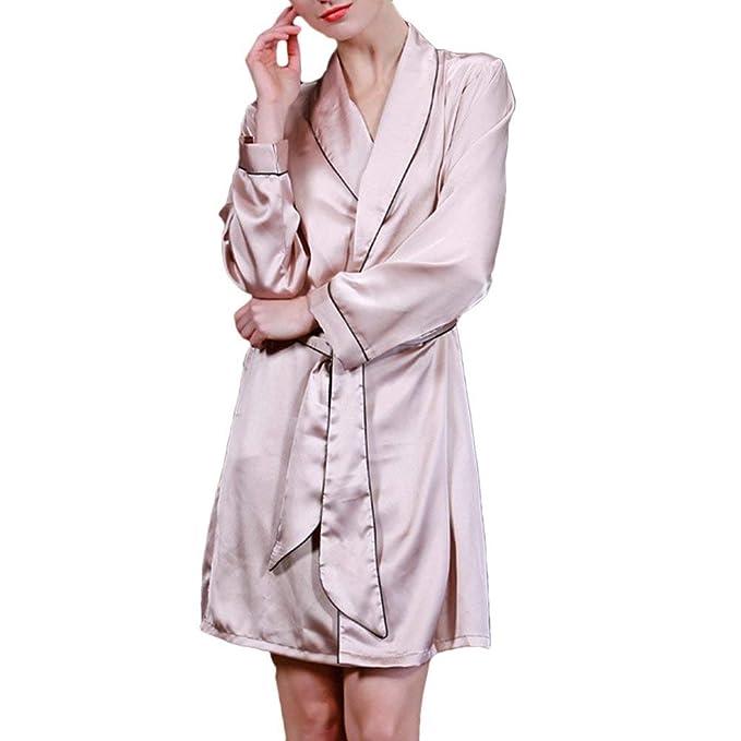 Pijamas Mujer Primavera Otoño Kimono Elegante Moda Batas Casual Manga Larga Unicolor Bastante V-Cuello Batas Pijama con Cinturón: Amazon.es: Ropa y ...
