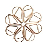RuiLing 300Pcs Cute Paper Clips,Rose Gold Metal Chrome Water Drop Shape Smooth Steel Wire Clips,Bookmark Memo Clips for Home Office Supplier School Supply
