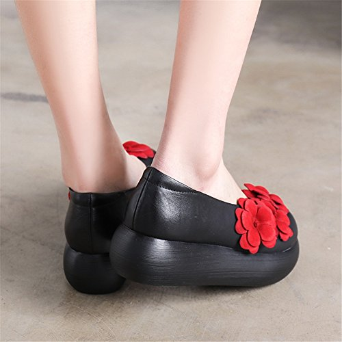 Red Black Shoes Flowers for Spring HUAN Fall Platform Casual Shallow Grey Leather Orange Thick Mouth Bottom B Trend Women's Shoes Personality qw8Ta