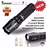 HP95 5000 Lumen 5 Modes T6 Zoomable LED 18650 Flashlight Torch Lamp Light G700 X800