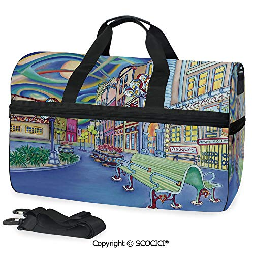 Multi Pocket Duffle Bag Seattle Downtown Modern City Colorful Handbag Luggage
