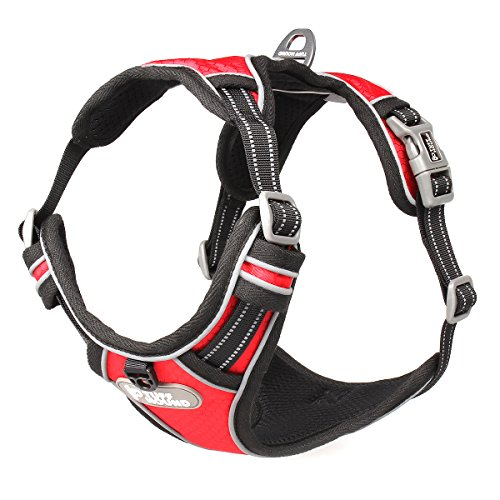 Dog Harness No-Pull Pet Vest Harness Durable Reflective Pet Safety Harness ID Tag Dog Leash (XL, Red)
