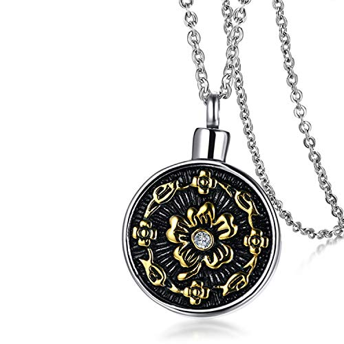 (2019 New Memorial Cremation Ashes Urn Pendant For Women Necklace Stainless Steel Hollow Floral Female Jewelry 20