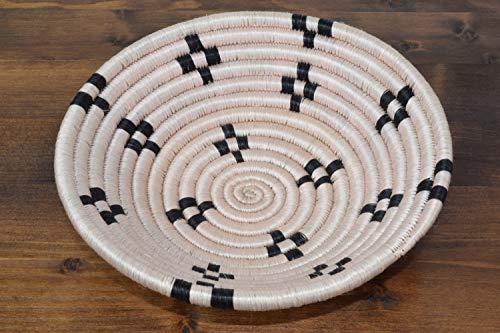 (Small Handwoven African Basket - Sisal & Sweetgrass Basket - African Gift - Decorative Woven Bowl - Handmade in Rwanda ~7'' Light Pink, SRB106)