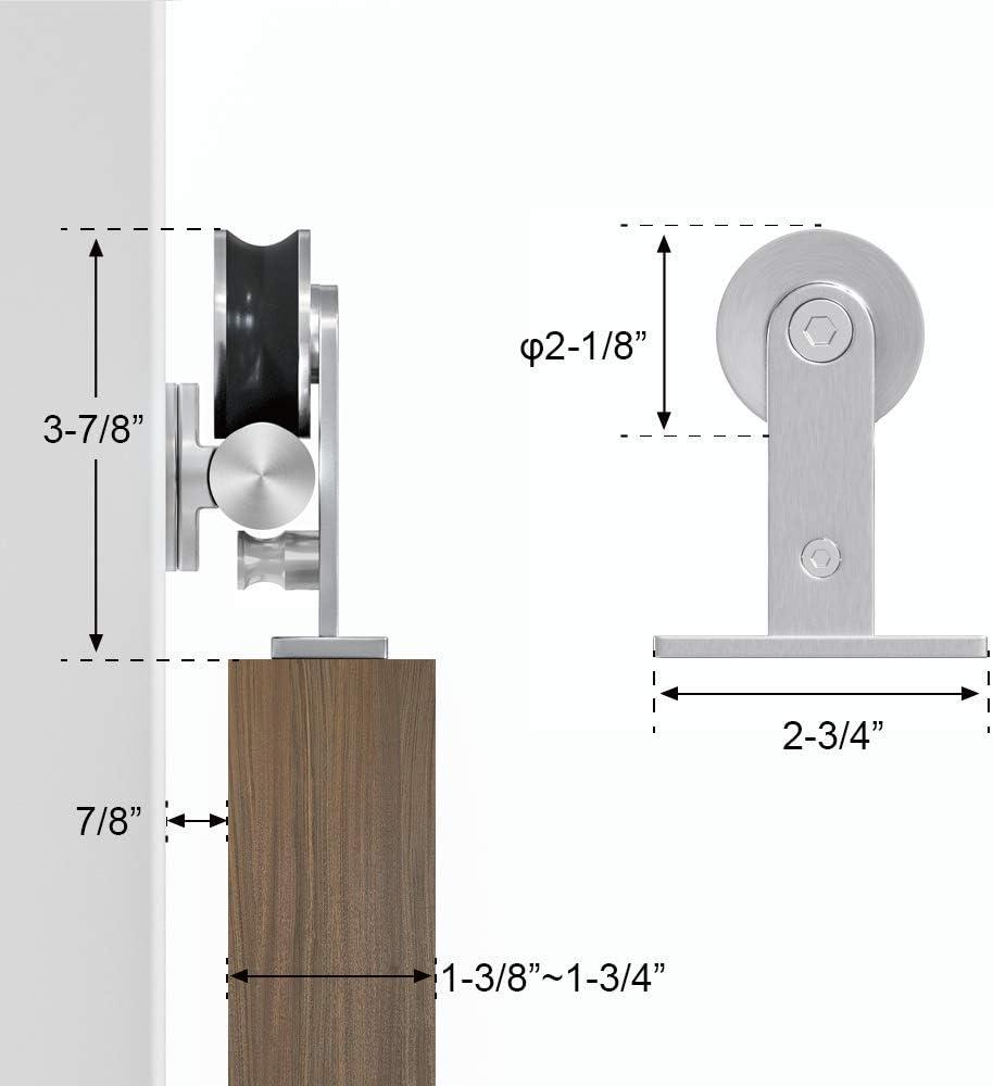 winsoon interior garaje armario soportes doble acero inoxidable rodillo de puerta corrediza de madera granero pista de Hardware pesados Kit: Amazon.es: Bricolaje y herramientas