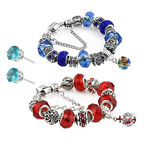 Glass Beads Charm Bracelet Enameled Crown Silver Plated Charm Bracelet 2 European Style Snake Chain Bracelet Gifts 20cm (7.8