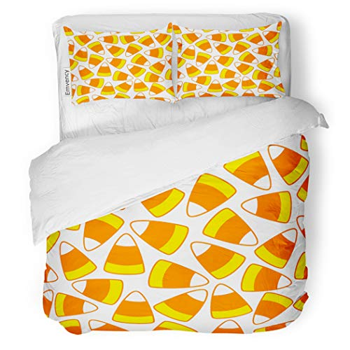 SanChic Duvet Cover Set Colorful Halloween Party Candy Corn Ornamental Pattern Decorative Bedding Set with 2 Pillow Cases Full/Queen -