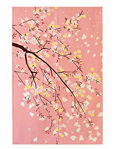 """LIGICKY Noren Japanese Doorway Curtain Printed Cherry Blossom Door Curtains Window Tapestry for Home Decoration, 33.5""""x59"""" Pink"""