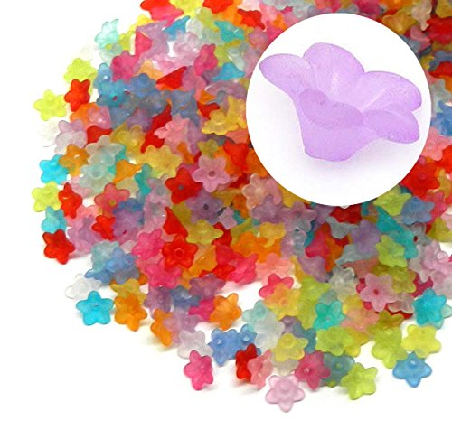 Rockin Beads Brand, 700 Frosted Mix Lily Flower Acrylic Beads Bead 10mm Also Used As Bead - Acrylic Flowers