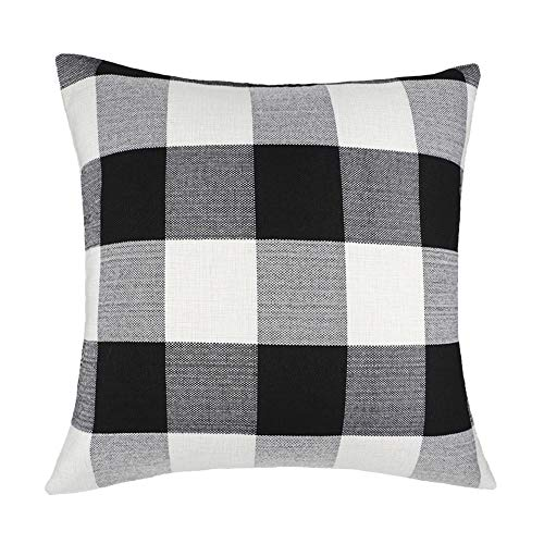 4TH Emotion 22 x 22 Inch Black and White Buffalo Check Plaids Throw Pillow Case Cushion Cover Retro Farmhouse Decoration for Couch Sofa Bed (Couch Halloween Cover)