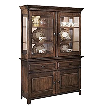 Amazon Com Ashley Larchmont Wood China Cabinet In Brown China
