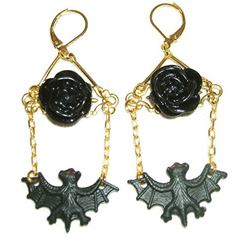 Gothic BAT BIRD EARRINGS Black Roses SWING CHAIN Dangle Drop Gold Pltd ()