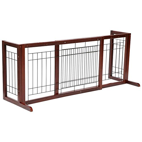 Topeakmart Adjustable Indoor Pet Fence Gate,Free Standing Dog Gate,Solid Wood Construction