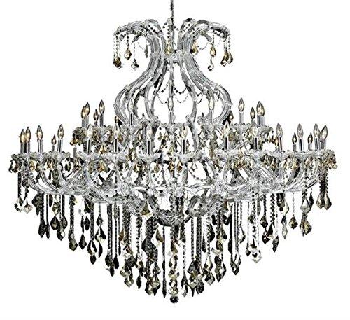 Karla Chrome Traditional 49-Light Grand Chandelier Heirloom Handcut Crystal in Golden Teak -2380G72C-GT-RC--12
