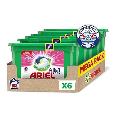 chollos oferta descuentos barato Ariel Pods Allin1 Detergente en Cápsulas para Lavadora Fragancia Sensaciones 108 Lavados 6 x 18