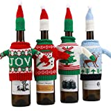 4 PCS Christmas Wine Bottle Cover Bags Ugly Sweater Wine Bottle Gift Bags for Holiday Décor Christmas Ornament and Home Party Decoration