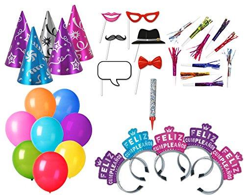 Paquete Surtido de Cumpleaños para 10 Personas - Kit Multicolor con Gorros, Diademas, silbatos, Globos y Vela - Articulos para Fiestas