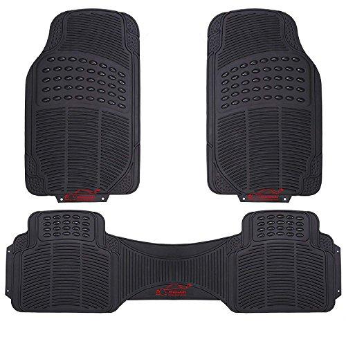 XtremeAuto 3 Piece Universal Fit Waterproof Heavy Duty BLACK Rubber Front & Rear Car Non-Slip Floor Mats:
