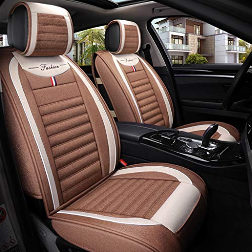 Super Breathable Flax Car Seat Covers 5 Seats Full Set - Anti-Slip Suede Backing Universal Fit Car Seat Cushions (Color : Light coffee):