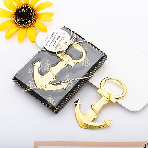 Yuokwer 12 PCS Nautical Anchor Bottle Opener Black and Gold Birthday Party Favors with Exquisite Packaging for Wedding Party Favors Gift & Decorations (Gold 12)