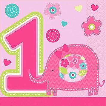 16 Kleine Servietten 1 Geburtstag Madchen Tiere Amazon De Spielzeug