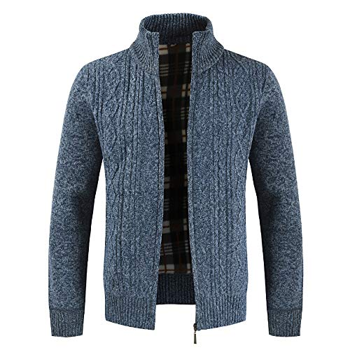 Clearance Forthery Men's Zip Knitted Cardigan Fleece Knitted Sweater Cardigan Coat(Blue, US Size 2XL = Tag (Racing Big And Tall T-shirt)