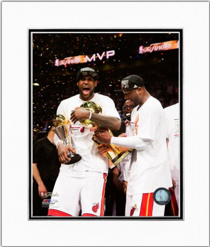 Ray Allen Matted Photo - LeBron James Dwyane Wade Miami Heat 2013 NBA Finals Double Matted Photo 11x14
