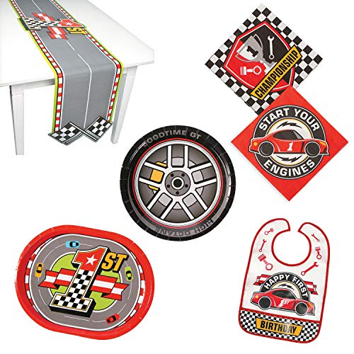 Fun Express 1st Birthday Race Car Party Bundle | Plates, Napkins, Table Runner, Bib | Great for Racing Sports-Themed Kids Party]()