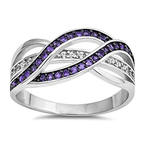 Simulated Amethyst Braided Knot Statement Ring New .925 Sterling Silver Band Size 6