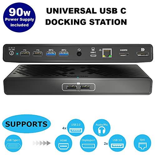 USB C Docking Station w/Laptop Power Delivery: Dual Video HDMI & DisplayPort, USB 3.0 & 2.0 Hub, Gigabit Ethernet RJ45, Combo Audio Jack, Bundle 90W Adapter, USB-C Dongle for MacBook & Window PC