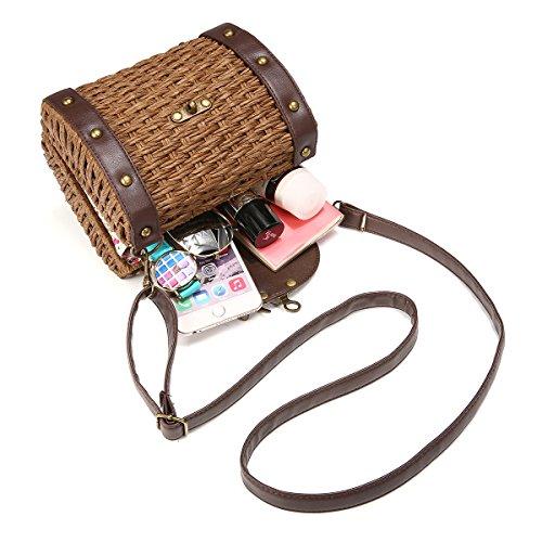 Top Handle Straw Straw Beach Bag Travel Brown Everyday Bag Dark for Womens Handbag JOSEKO and Use Brown Dark Shoulder rrwXdR1q