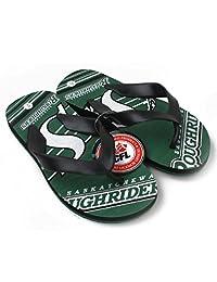 CFL Saskatchewan Roughriders Boys Varsity Slippers Flip Flops Size 4