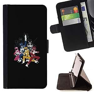 BullDog Case - FOR/Sony Xperia Z3 D6603 / - / POWER RANGE SUPERHEROES /- Monedero de cuero de la PU Llevar cubierta de la caja con el ID Credit Card Slots Flip funda de cuer
