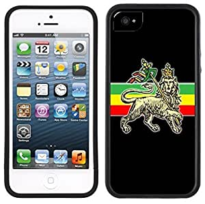 Rasta Rastafarian Lion Handmade iPhone 5 5S Black Case by Maris's Diary