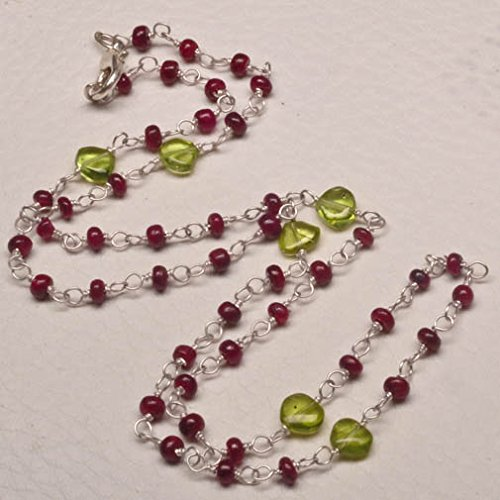 (natural peridot round and ruby heart gemstone beaded link necklace)