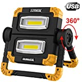 RUNACC LED Work Light Rechargeable Folding Flood Light 20W 1500LM Portable Outdoor Stand Work Lights with 360° Rotata