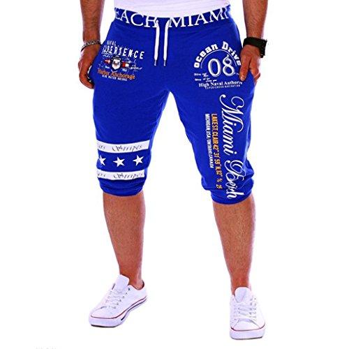 Men's Sport Pants Capri Pants - LimseaFashion Printing Shorts Drawstring Elastic Waist Casual Loose Gym Bodybuilding Joggers Blue]()