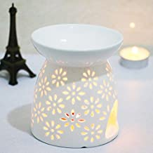 DEBON Creative Milk White Ceramic Hollowing Floral Aroma Lamp Oil Diffuser Essential Oil Lamp Aromatherapy Furnace Ceramic Incense Burner Oil Candle Furnace Tea Light Holder Candle Holders (A)