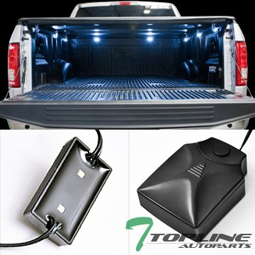 Topline Autopart Universal 8 Pods 16X White LED Rear Trunk Truck Cargo Bed Work Lights Lamps + Wiring w/ On Off Control Box (00 Honda Civic Rear Trunk)