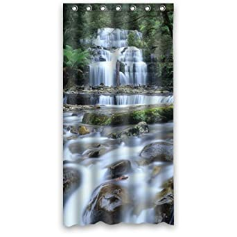 Beautiful Mountains And Clear Waters Dreamy Waterfall Shower Curtain  36u0026quot;x72u0026quot; New Waterproof Polyester