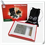 Whiskey Stones Chilling Rocks in Gift Box with Velvet Carrying Pouch, Set of 9