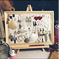 Acturen 2520cm Photo Frame Jewelry Ear Nail Receiving Display Box/Ear Ring Frame Necklace Linen Cloth Jewelry Display Projects C621