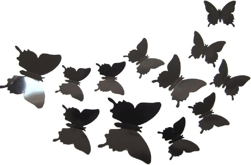 ALLICERE 12Pcs 3D Butterfly Removable Wall Decals DIY Home Decorations Art Decor Wall Stickers Murals for Babys Kids Bedroom Living Room Classroom Office(Color:Black)