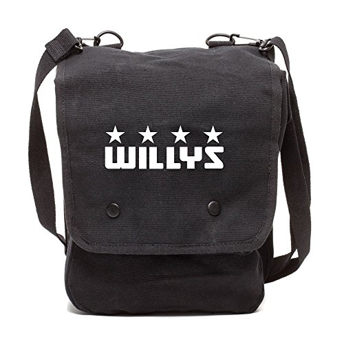 Army Force Gear Willys Jeep Freedom Stars Military Canvas Crossbody Travel Map Bag Case in Black & White