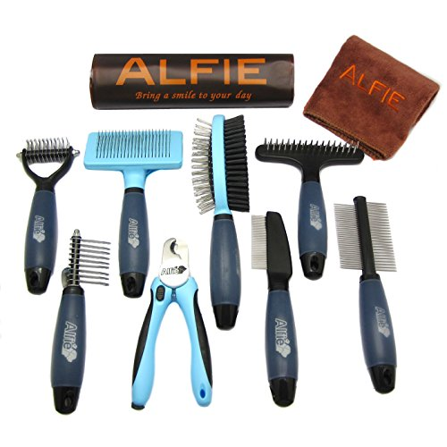 Alfie Pet by Petoga Couture - Devin 8-piece Home Grooming Set - Flea Comb, Double Comb, Demat Comb, Mat Breaker, Slicker Brush, Double Brush, Undercoat Rake, Nail Clipper (General Purpose - Ultimate)