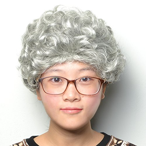 COOLSKY Women Wigs Short Silver Gray Curly Natural Granny Costume for Old Middle Age Woman Elderly Ladies]()