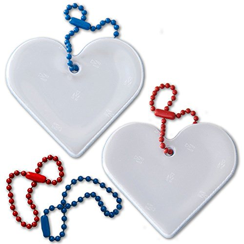 funflector Safety Reflector - Heart - White & Blue - 2-pack