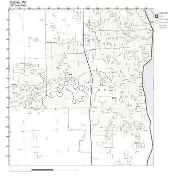 Amazon.com: ZIP Code Wall Map of Kohler, WI ZIP Code Map Not ...