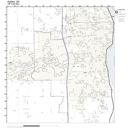 Amazon.com: ZIP Code Wall Map of Kohler, WI ZIP Code Map Laminated ...