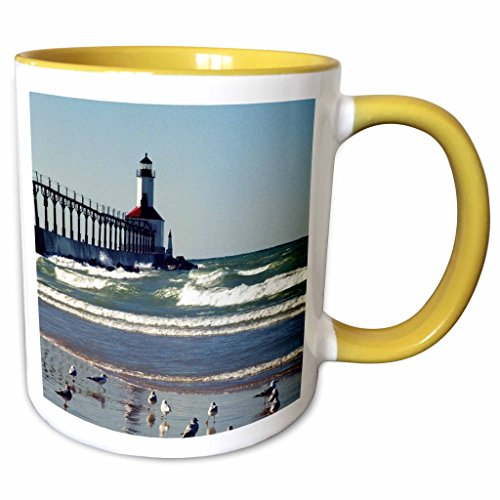 3dRose Danita Delimont - Lighthouses - USA, Indiana, Indiana Dunes State Park Lighthouse - US15 AMI0255 - Anna Miller - 11oz Two-Tone Yellow Mug - Outlet Indiana Lighthouse